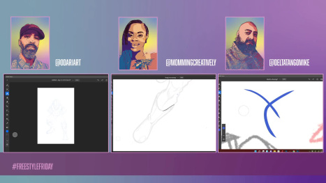 #FreestyleFridays w #AdobeFresco Live with @odariart and @mommingcreatively on @Behance
