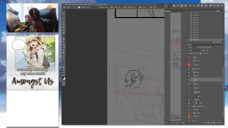 Shilin - inking some comic panels! then a little painting?