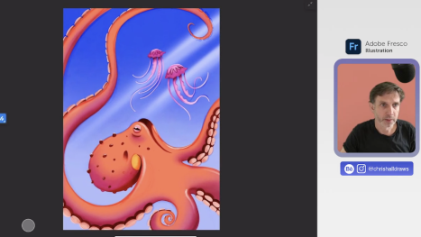 Octopus illustration in Adobe Fresco
