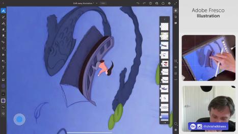 Drift Away Illustration in Adobe Fresco Pt3