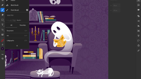 Adding Texture Brushes to the Haunted Library with  Illustrator on the iPad