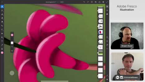 Collaboration stream with Shawn Kosel humming bird illustration